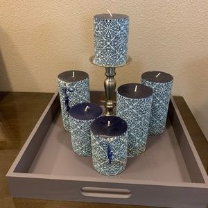 Decor Pillar Candles Lot of 6 + 1 Candle Holder